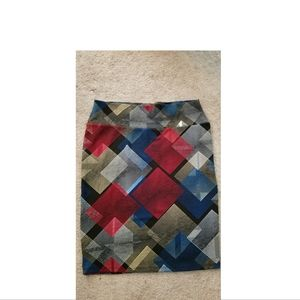 Lularoe Cassie Midi Pencil Skirt Red/Blue Print
